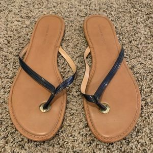 Banana Republic Mazzy Leather Flip Flop Navy